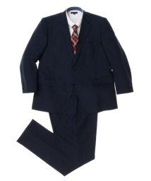 GRAND-BACK/【大きいサイズ】紺シャドーヘリンボンノータック2ピーススーツ/501184334