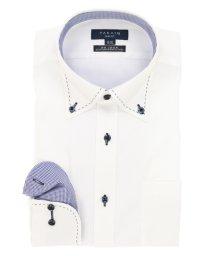 TAKA-Q/形態安定(ノーアイロン)スリムフィットボタンダウンハンドステッチビジネスドレスシャツ/501184462