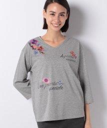 Leilian PLUS HOUSE/フラワー&ロゴ刺繍Tシャツ/501144918