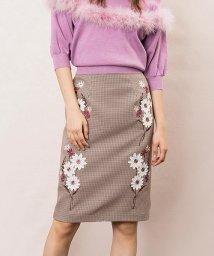 Noela/フラワー刺繍アップリケペンシルスカート/501195215