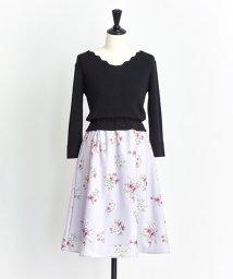 Noela/オリジナルスモールブーケフラワー柄ドッキングワンピ/501195230