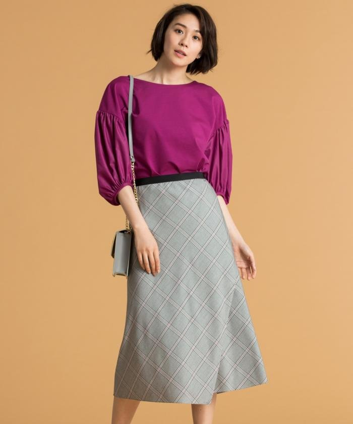 【洗える】ドレープチェック スカート
