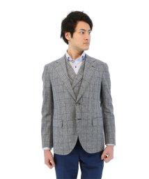 TAKA-Q/MARZOTTO 綿麻シングルジャケット ウィンドペーン青 レギュラーフィット セットアップ/501198353