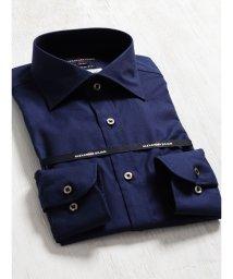 TAKA-Q/綿100%形態安定(ノーアイロン)スリムフィットワイドカラー長袖ビジネスドレスシャツ/501198397