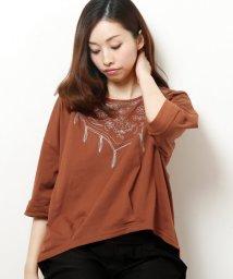 framesRayCassin/花スカーフ刺繍ドルマン七分袖Tシャツ/501200671