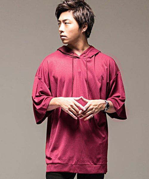 VICCI(ビッチ)/VICCI【ビッチ】メンズ フード付きビッグシルエット6分袖Tシャツ/VIRE18-16