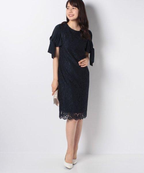 Eimy Peral(エイミーパール(ドレス))/ミゴロレース半袖シフォンリボン付ドレス/728849