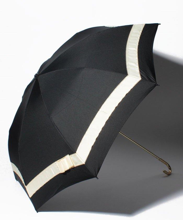 【晴雨兼用傘】 パールリボン 折傘  (UVカット&軽量)