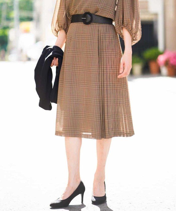 【セットアップ対応】チェックプリーツデザインスカート
