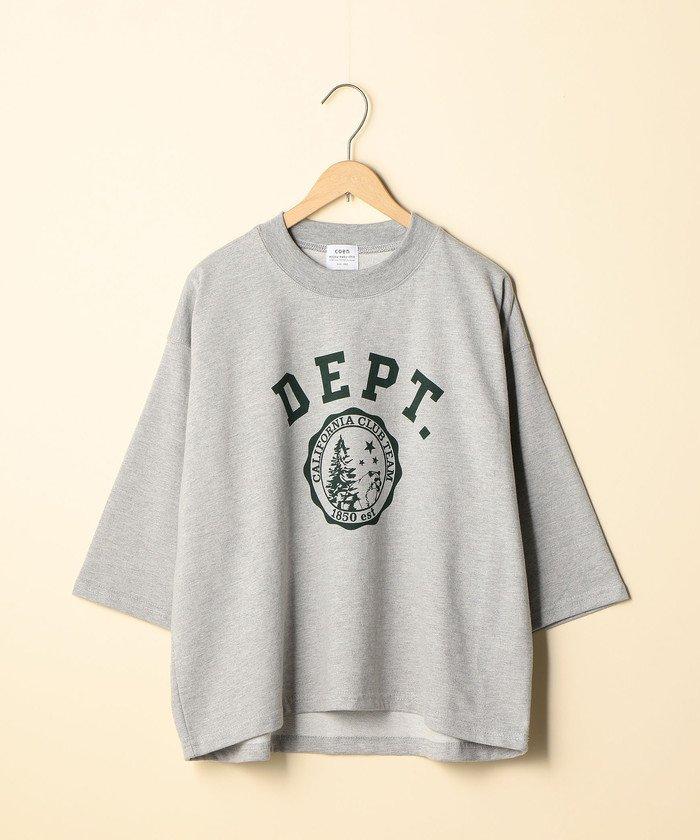 コーエンCVCインレイプリントTシャツ(7分袖カットソー)レディースLT. GRAYFREE【coen】