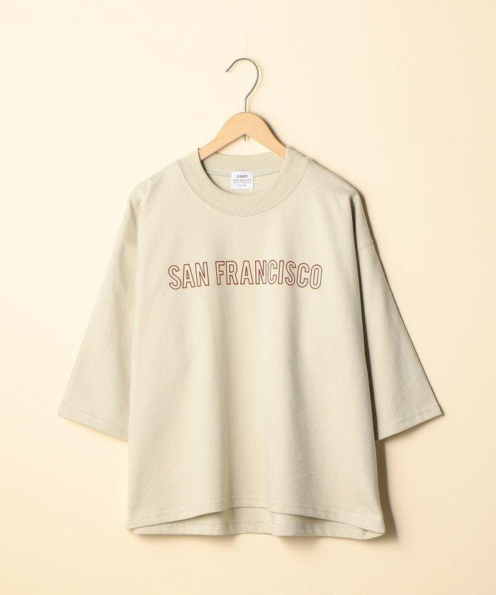 コーエンCVCインレイプリントTシャツ(7分袖カットソー)レディースNATURALFREE【coen】