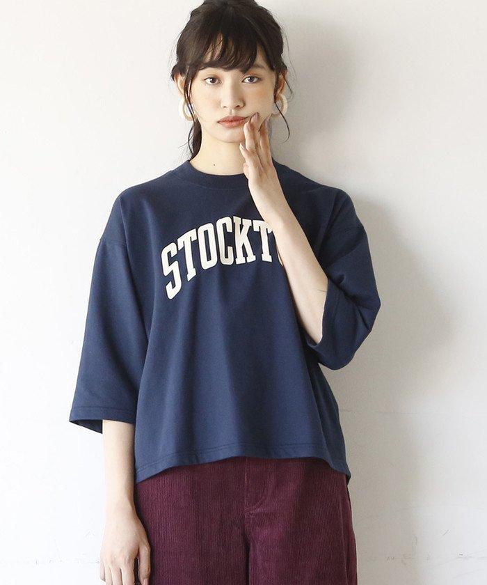 コーエンCVCインレイプリントTシャツ(7分袖カットソー)レディースNAVYFREE【coen】