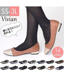 Vivian/バイカラーフラットメタルヒールパンプス/501223832