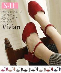 Vivian/プラットフォームスカラップネックベルトパンプス/501223845
