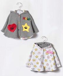 X-girl Stages/キラッキー&ハート・フリースリバーシブルポンチョ/501200157