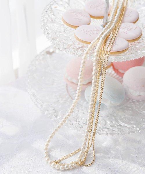 【結婚式・パーティー】パール ロングネックレス ゴールドチェーン