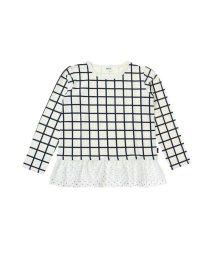 BREEZE / JUNK STORE/裾フリル格子柄Tシャツ ママ用/501204091
