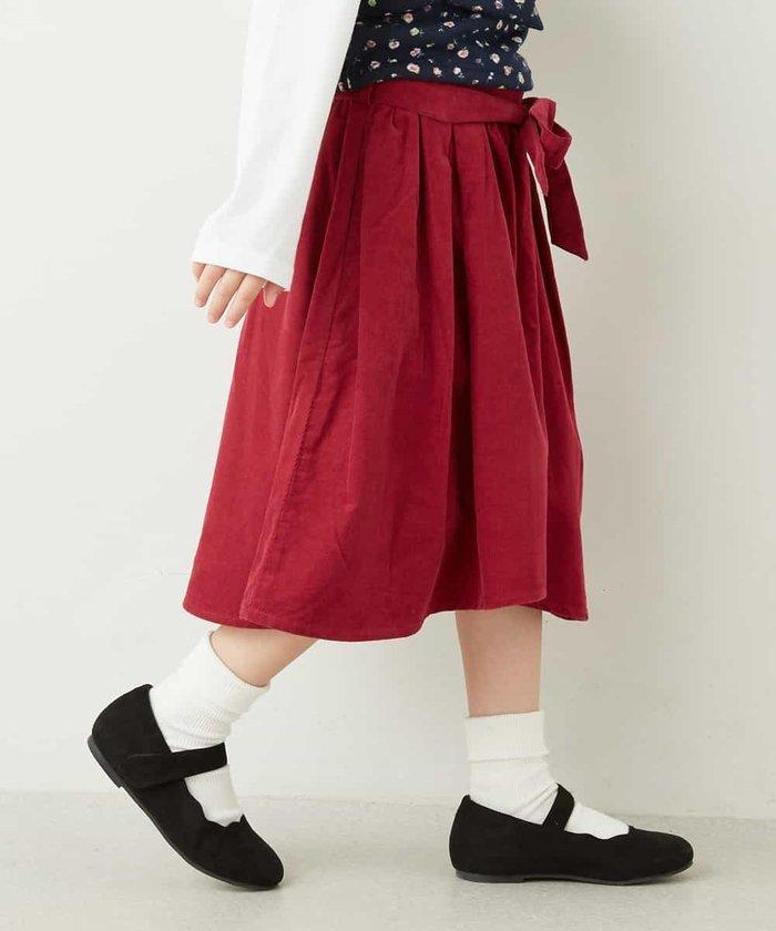 [140−150]21ウェルサッシュベルト付ミディ丈スカート