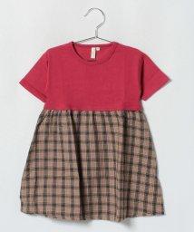 LAGOM/チェック切替5分袖ワンピース/501197676