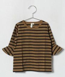 LAGOM/フリル7分袖ボーダーカットソー/501197677