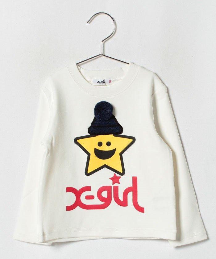 ff1d2ef9c8e07 X-girl Stages(エックスガール ステージス) ポンポンつきキラッキーTシャツ