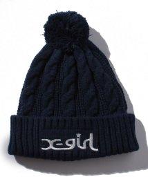 X-girl Stages/ポンポンつきロゴケーブルニット帽/501228606
