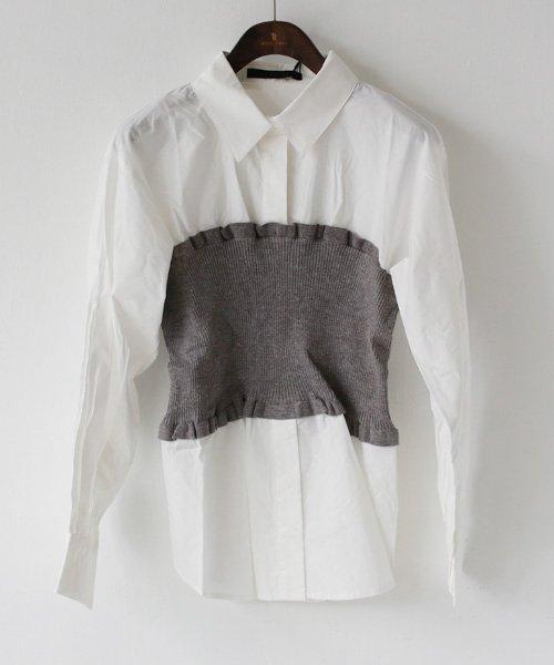 REAL CUBE(リアルキューブ)/CYNICAL ニットビスチェドッキングシャツ/812-95011