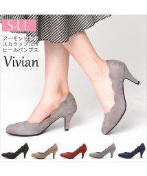 Vivian/アーモンドトゥスカラップ7cmヒールパンプス/501251756