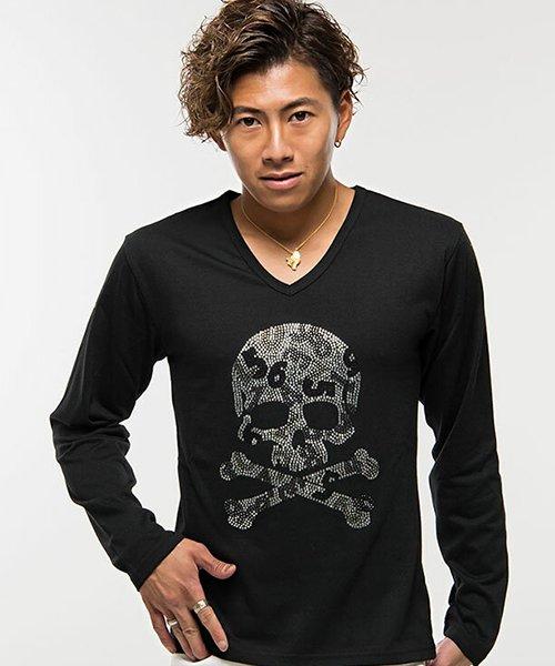 CavariA【キャバリア】ライトストーンスカルナンバリングVネック長袖Tシャツ