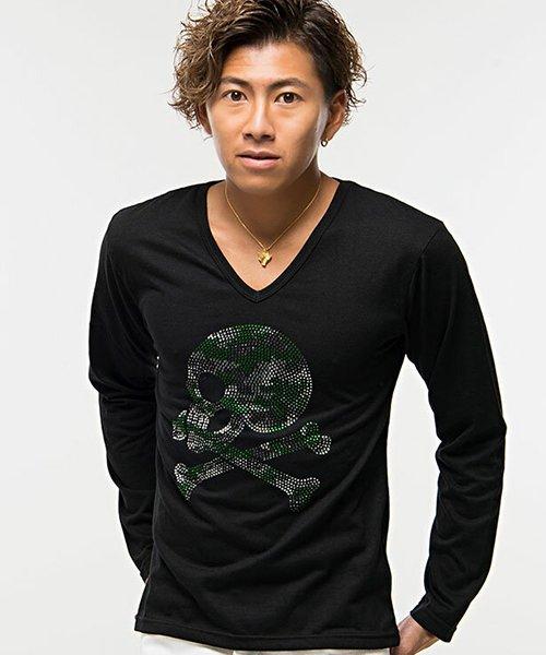 CavariA【キャバリア】ライトストーンスカルカモフラージュ柄Vネック長袖Tシャツ