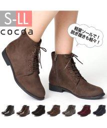 Cocoa/軽量ソール&ローヒールレースアップショートブーツ/501258231