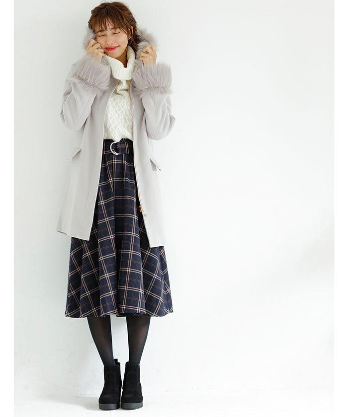 INGNI カンサッシュ付チェック柄ミディスカート