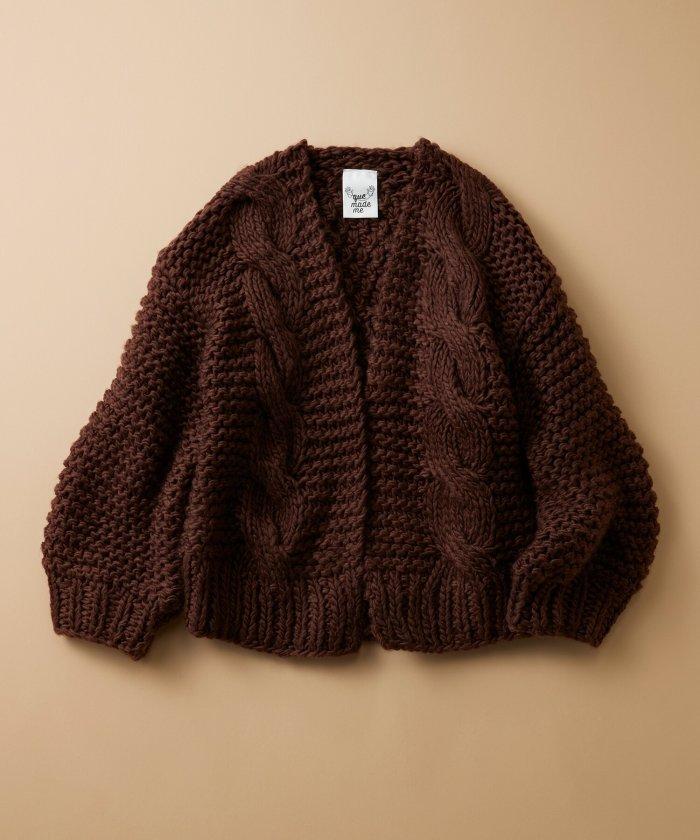 haco! お手軽羽織りにぴったりな 手編みのざっくりニットカーディガン by que made me