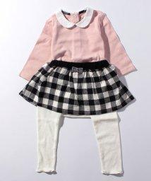 petit main/丸衿つきロンパース×チェックフレアスカッツセット/501252801