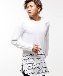 CavariA/CavariA【キャバリア】英字柄サイドジップクルーネックロング丈長袖Tシャツ/501264930