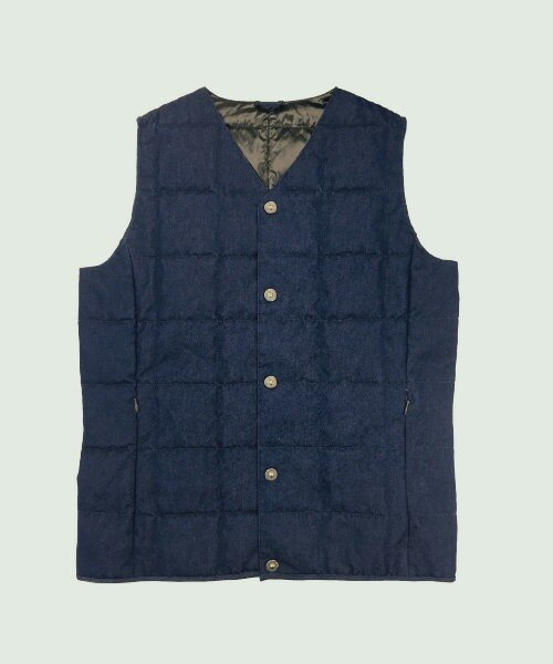 TAION(TAION)/V NECK DENIM BUTTON DOWN VEST/TAIOND001
