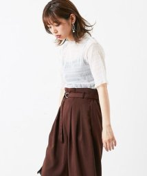 NICE CLAUP OUTLET/【natural couture】シャーリングチュールプチハイブラウス/501232697