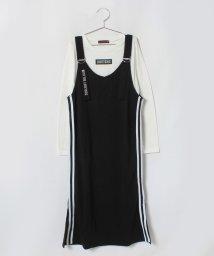 Lovetoxic/サイドライン入りジャンパースカート×ロゴTシャツセット/501258311