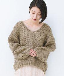 haco!/手編み風のざっくり感で女っぽい Vネックの甘編みルーズニット/501269687