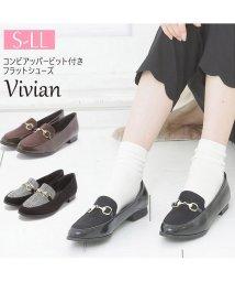Vivian/コンビアッパービット付きフラットシューズ/501276862