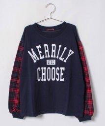 Lovetoxic/袖チェックカレッジロゴTシャツ/501267442