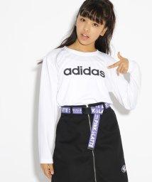 PINK-latte/adidas ロゴ長袖Tシャツ/501285090