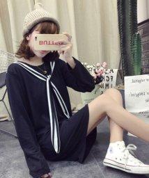 Afelice/リボンつきワンピース 韓国 ファッション レディース ストライプリボン 秋用 長袖 かわいい【A/W】【ra-2021】/501287919