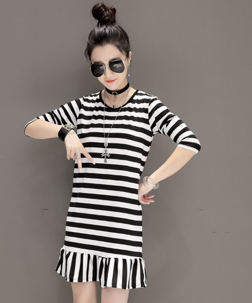 セール】モノトーンボーダーワンピース 韓国 ファッション