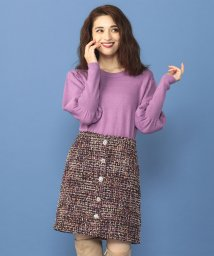 MIIA/ビジュー付きファンシーツイード台形スカート/501283979