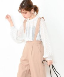 NICE CLAUP OUTLET/【natural couture】プチフリルネックドットブラウス/501284665
