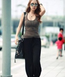 Afelice/ゆったりヨガパンツ 韓国 ファッション レディース ロングサイズ シンプル 動きやすい 保温性【S/S】【ra-2013】/501287911