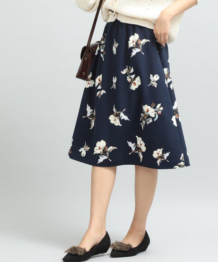 ViS フラワープリントギャザースカート