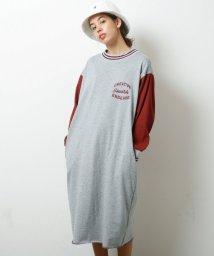 DOUBLE NAME/リブライン配色ワンポイント刺繍ワンピース/501293472