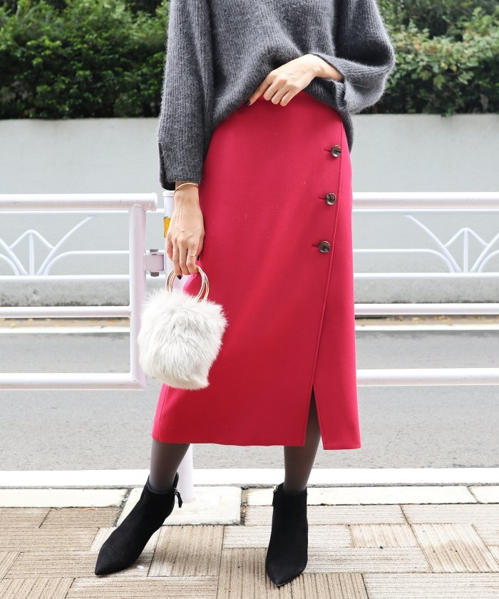 Spick & Span ボタントラペーズスカート